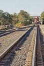 Railroad tracks with locomotive Royalty Free Stock Photo