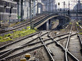 Railroad tracks at the munich central station germany Stock Image