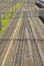 Railroad tracks the panorama of top view Royalty Free Stock Photo