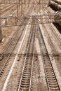 Railroad tracks the panorama of top view sepia color tone Stock Image