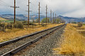 Railroad tracks and power lines Stock Images