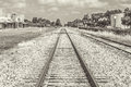 Railroad tracks sephia tone a rural scene of set with a Royalty Free Stock Photos