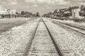 Railroad Tracks Sephia Tone Royalty Free Stock Photo