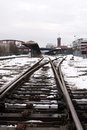 Railroad tracks in snow on railway station in Portland Oregon Royalty Free Stock Photo
