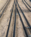 Railroad tracks and switches landscape with many Royalty Free Stock Photography
