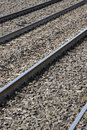 Railroad tracks train. Rails Royalty Free Stock Photo