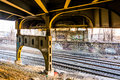 Railroad tracks under the Howard Street Bridge in Baltimore, Mar Royalty Free Stock Photo