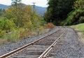 Railroad Train Tracks Going around a Corner Royalty Free Stock Photo