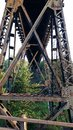Railroad tressel looking uderneath the Royalty Free Stock Image