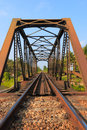 Railroad trestle an old with an old iconic iron truss Stock Photos
