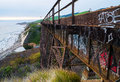 Railroad trestle over arroyo hondo california coast Royalty Free Stock Photography