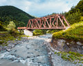 Railroad trestle over river, Carpathians Royalty Free Stock Photo