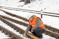 Railroad worker Royalty Free Stock Photo