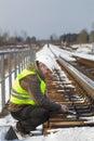 Railroad worker  on the railway bridge Royalty Free Stock Photo