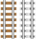 Rails with concrete and wooden sleepers Royalty Free Stock Images