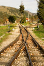Rails of famous Diakofto-Kalavrita railway Royalty Free Stock Image