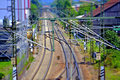 Rails in germany a miniature view with reduced dof Royalty Free Stock Photos