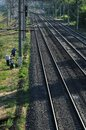 Rails and gypsies Stock Photo