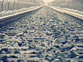 Rails shot from the ground Royalty Free Stock Photography