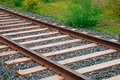Rails and sleepers the photo of on the ground Royalty Free Stock Image