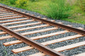 Rails and sleepers the photo of on the ground Royalty Free Stock Photos
