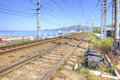 Railway along with the coast of the Black sea Royalty Free Stock Photo