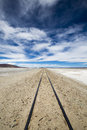 Railway in Atacama Desert, Uyuni desert, Bolivia Royalty Free Stock Photo