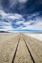 Railway in Atacama Desert, Uyuni desert, Bolivia Royalty Free Stock Photo