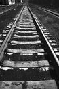 Railway b w rusted to the far end Royalty Free Stock Images