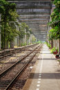 Railway in bangkok construction and nature are combined by pillar and tree thailand Stock Images