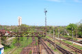 Railway bed on verge of industrial city miner s the crooked horn ukraine kind from a bridge white buildings are barrels mines Stock Image