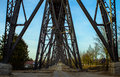 Railway bridge in rendsburg germany Stock Photos