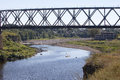 Railway bridge through the river narva estonia Stock Photography