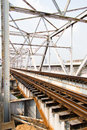 Railway bridge trusses on chao phraya river thailand Royalty Free Stock Photos