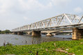Railway bridge trusses on chao phraya river thailand Royalty Free Stock Photography