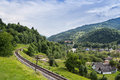 Railway in the carpathians near village of kvass ukrainian Stock Image