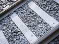Railway closeup view of a track on old transportation and infrastructure background Stock Photos