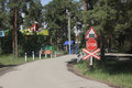 Railway crossing on a children s railway in chelyabinsk Royalty Free Stock Photo