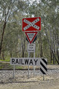 Railway crossing on a country road in australia Stock Photo