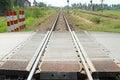 Railway crossing on road Royalty Free Stock Photo