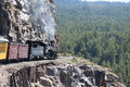 The railway from durango to the silver town of silverton colorado usa travelling on narrow gauge in though cascade canyon Royalty Free Stock Photography