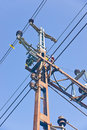 Railway electric overhead blue sky Stock Photo
