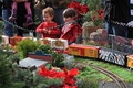 Railway exhibit kids watch g scale for celebrating christmas holiday season at brookside garden md on december Stock Images