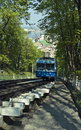 Railway funicular at winter. Stock Photo