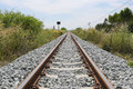 Railway and Grassy of Grass. Royalty Free Stock Photo