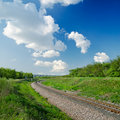 Railway in green landscape Royalty Free Stock Photo
