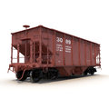 Railway hopper car on white background d model of Stock Images