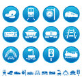 Railway icons railroad symbols on round buttons Stock Images