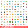 100 railway icons set, cartoon style