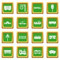 Railway icons set green